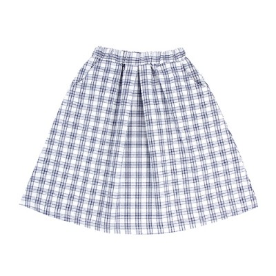FRENCH CHECK LONG SKIRT: WHITE<br/>