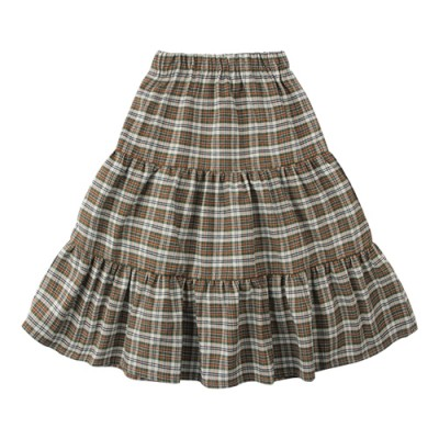 CHECK TIERED SKIRT: BROWN<br/>