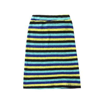 STRIPE RIBBED SKIRT: MINT&LIME