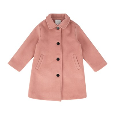 CLASSIC COLLAR WOOL COAT: CORAL PINK