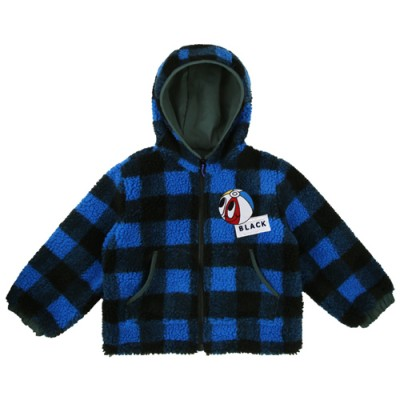 FLEECE CHECK HOODY JUMPER: BLUE
