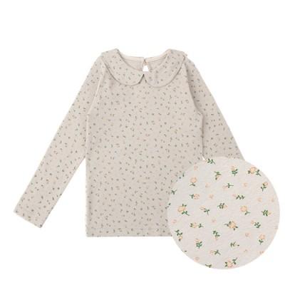 TINY FLOWER-COLLAR TEE: BEIGE GRAY