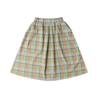 FRENCH LONG SKIRT: GREEN CHECK