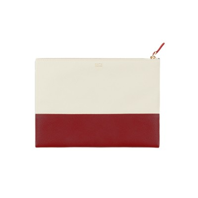 TWO TONE CLUTCH: RED / IVORY