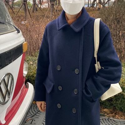 MOM CLASSIC COLLAR DOUBLE COAT: NAVY