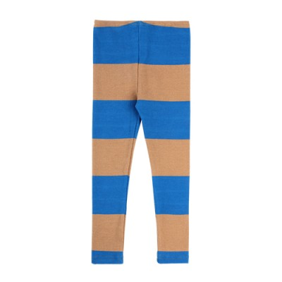 COLOR BLOCK STRIPE LEGGINS: BLUE&BEIGE