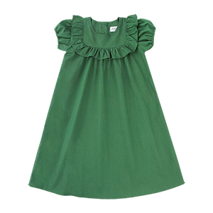 FRILL SQUARE NECK DRESS: DEEP GREEN<br/>