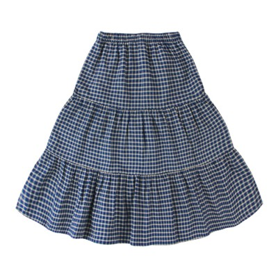 CHECK TIERED SKIRT: BLUE<br/>