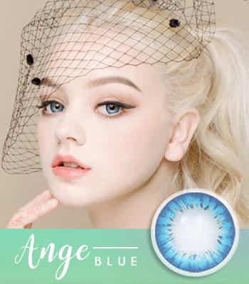 ANGE ブルー[直径 : 14.2mm 着色:13.7mm] お人形のようなデカ目カラコンBLUE (度あり度なし~-10.00まで)