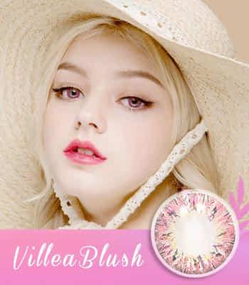 【生産終了予定品! お早めに!】PREMIUM★ハーフ★Villea Blushピンク[直径 : 14.0mm 着色:13.7mm]度あり度なし~-8.00まで Pink