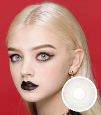 [クレイジー発色3ヶ月レンズ]ファンタジーeyeホワイトグレー カラコン【着色直径:14.2mm】UVカット*小悪魔召喚*リアルハーフ*最高品質!ラッキーアイコン限定!フチなしFantasy Eye White Gray