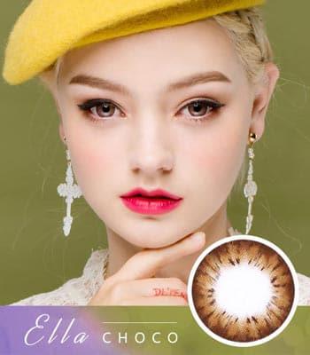 [チョコカラコン]エラ・ Choco Brown「PREMIUM」Ellaデカ目・高発色・ハーフ[直径 : 14.0mm 着色:13.7mm]度あり度なし~-10.00までElla Choco