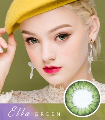 [グリーンカラコン]エラ・Green「PREMIUM」Ellaデカ目・高発色・ハーフ[直径 : 14.0mm 着色:13.7mm]度あり度なし~-10.00までElla Green