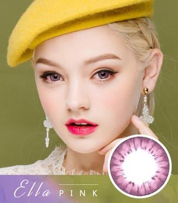 [ピンクカラコン]エラ・Pink「PREMIUM」Ellaデカ目・高発色・ハーフ[直径 : 14.0mm 着色:13.7mm]度あり度なし~-10.00までElla Pink