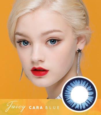 【ブルーカラコン】ジューシー・カーラ「PREMIUM」高度数 [直径 : 14.0mm 着色:13.5mm]Juicy Cara Blue 高発色