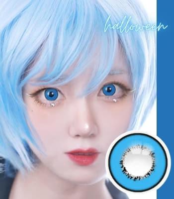 コスプレ用 2枚・度なし【 UV ハロウィーン ブルー】「最高品質」 青色カラコン「少量販売」含水率:40% 着色:13.8|高発色・デカ目Blue Halloween