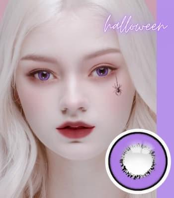 コスプレ用 2枚・度なし【 UV ハロウィーン バイオレット】「最高品質」紫色カラコン|含水率:40% 着色:13.8|高発色・デカ目 violet Halloween