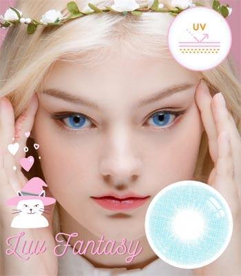 【UVカット・最高品質】ラブ ファンタジー・ブルーカラコン「3ヶ月レンズ」|含水率:43% 着色直径:13.1|Luv Fantasy Blue ナチュラルハーフ