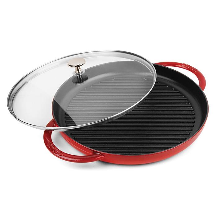 Staub 12-inch Steam Grills with Glass Lid (Cherry)
