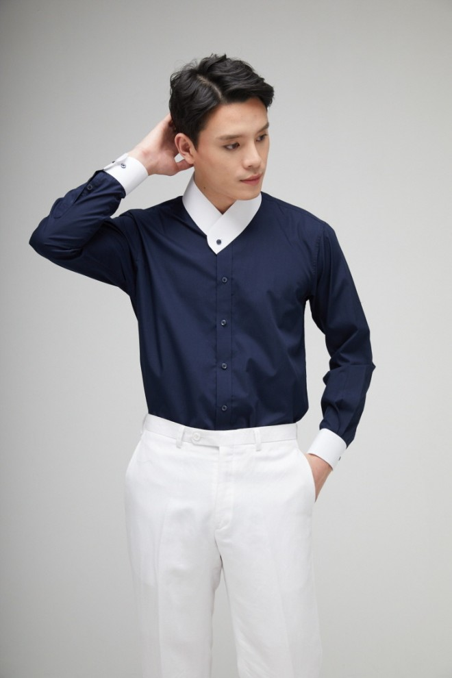 Navy & White Cotton Git-Shirt