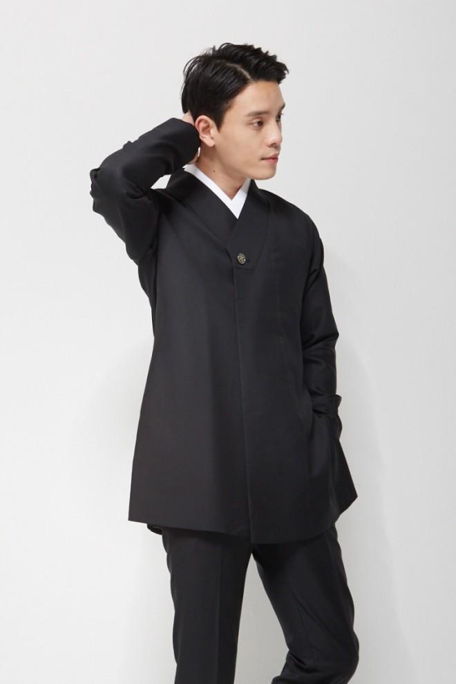 Black Wrap Lapel Hanbok Suit Jacket