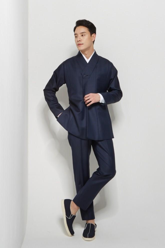 Blue Wrap Lapel Hanbok Suit Jacket