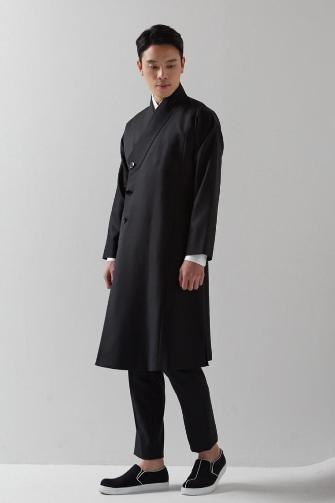 Black Wrap Lapel Durumagi Coat