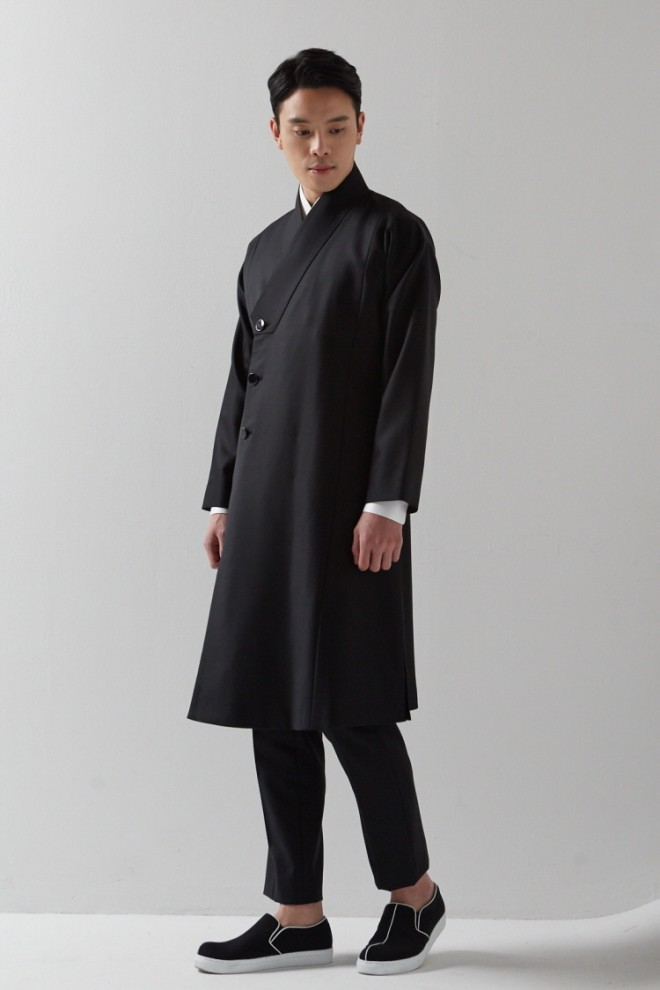 Black Wrap Collar Durumagi Coat