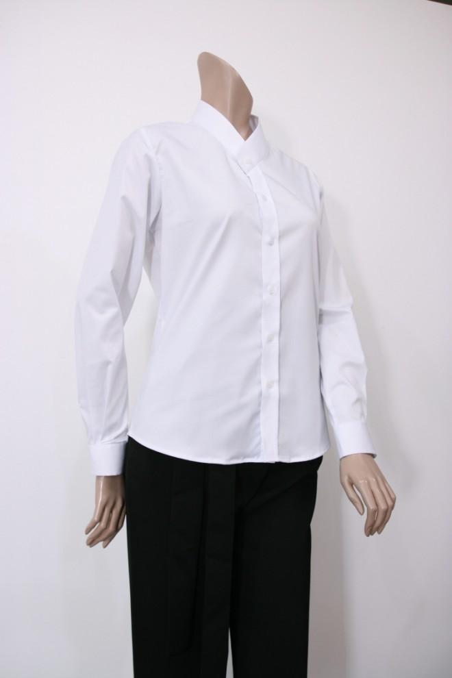 여성용 화이트 좁은깃셔츠