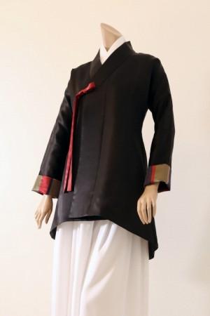 Black Korean Stripe Silk Jacket