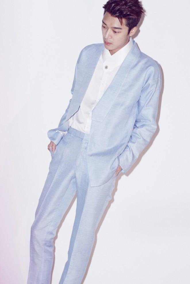 Linen Skyblue Symmetric Lapel Hanbok Suit Jacket