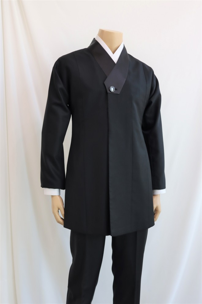 Black Satin Wrap Lapel Hanbok Suit Jacket