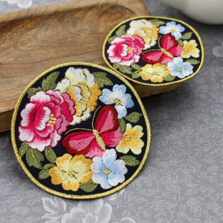 韩服饰品圆形刺绣蝴蝶园深蓝色2种韩服配件