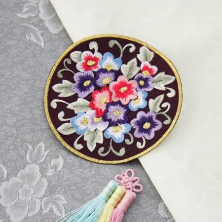 韩服装饰圆形刺绣盆栽植物红色库存2种韩服辅助材料