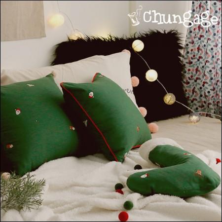 亚麻刺绣面料圣诞快乐绿色1/2麻E-010