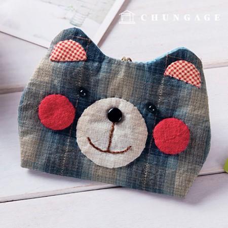 绗缝包DIY套装猩红色熊卡包[CH-613376]