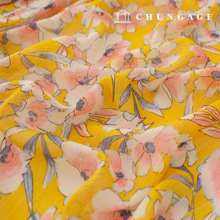 Yorushi雪纺布布料柴松花花朵分层面料