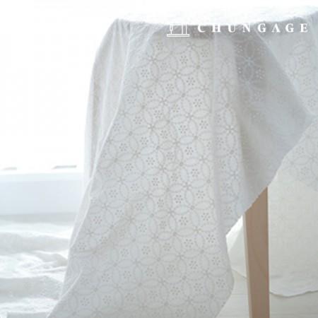 棉蕾丝刺绣面料圆花后眼