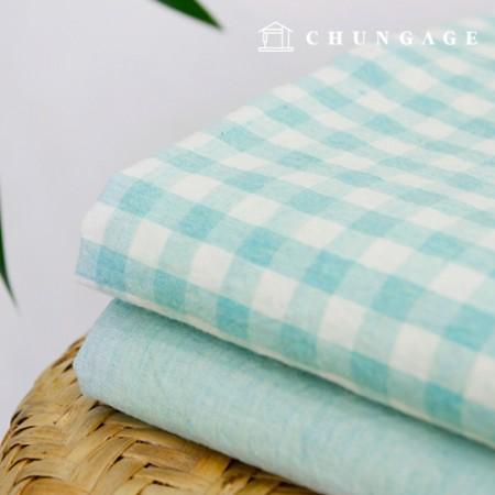 广泛的Melan水洗Ombre全棉面料格子素色布料翡翠色2种