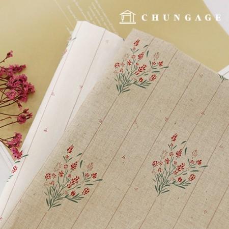 亚麻布宽幅布料棉,麻,红线花束,2种