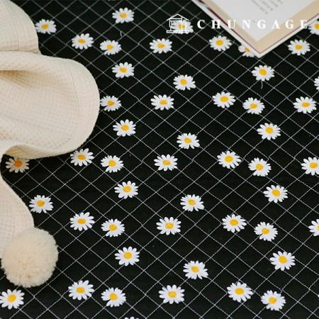 20纯棉平纹布料棉衣面料雏菊花