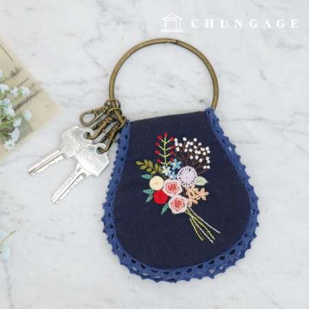 法国刺绣包装花DIY套件花包钥匙扣袋CH-560132爱你可以在家做