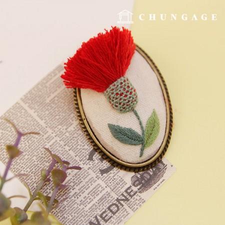 法式刺绣包花DIY套件三维康乃馨刺绣胸针天然CH-512571A你可以在家做的爱