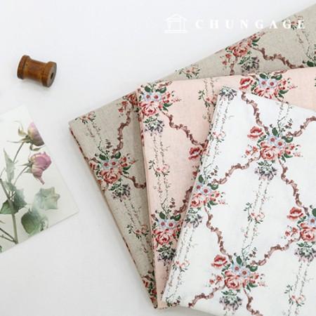 亚麻布宽幅布棉,麻,玫瑰围栏,3种