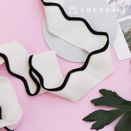 针织Shibori踝带褶皱乐团Wave褶皱Shibori白色90cm