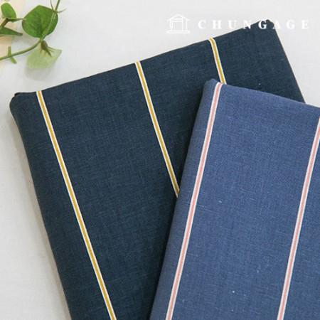 亚麻棉亚麻布蓝纸条纹海洋牛仔2种