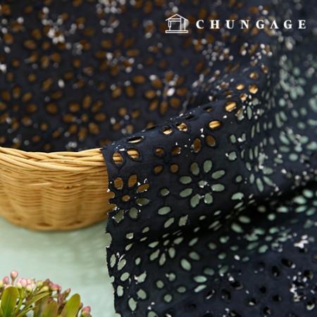 60号Asa印花刺绣蕾丝面料纯棉印花面料深蓝色植物区系