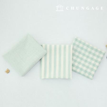棉布混色奥伯(Ombre)染料水洗布广泛复古/仿旧格子条纹平纹3种薄荷