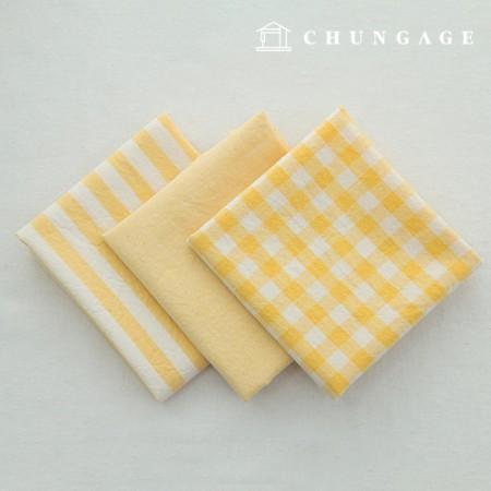 棉布混色奥伯(Ombre)染料水洗布广泛复古/仿旧格子条纹平纹3种黄色