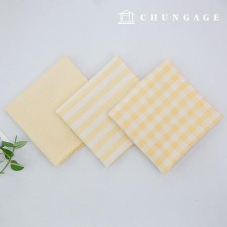 棉布混色奥伯(Ombre)染料水洗布广泛复古/仿旧格子条纹平纹3种浅黄色